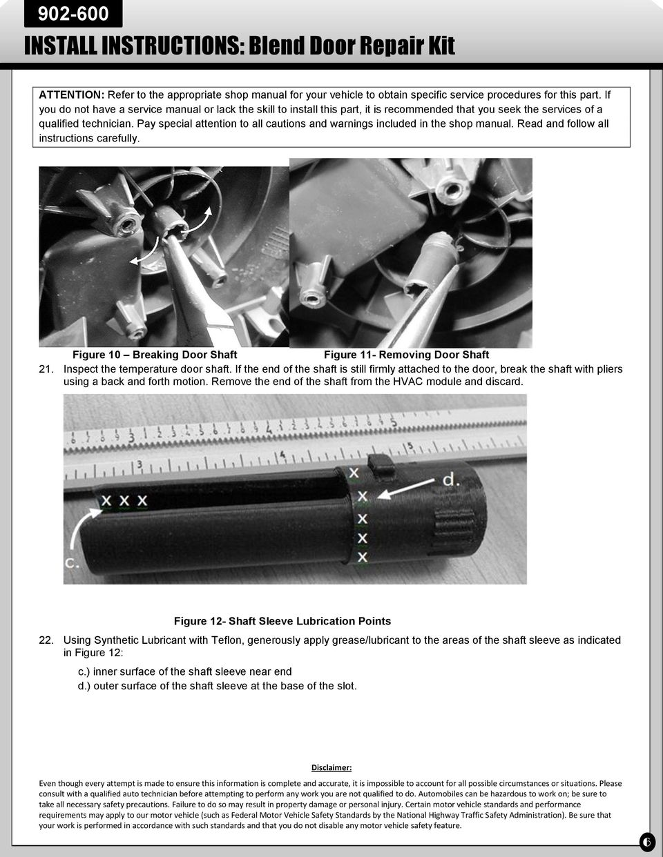 INSTALL INSTRUCTIONS: Blend Door Repair Kit - PDF