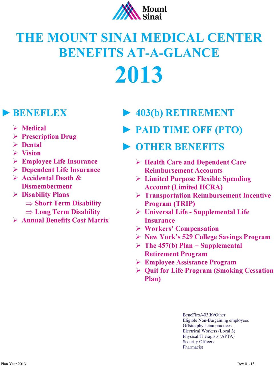 THE MOUNT SINAI MEDICAL CENTER BENEFITS AT-A-GLANCE PDF