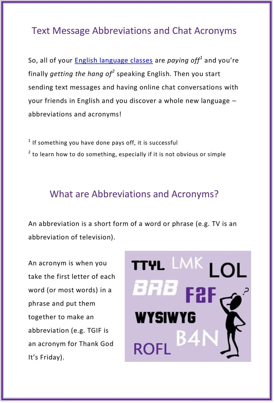Sexting acronyms and abbreviations
