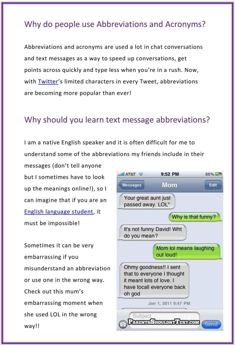 Text Message Abbreviations  Learn how to use text message