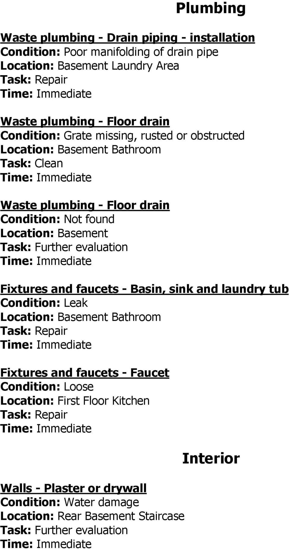 Condition: Not found Location: Basement Fixtures and faucets - Basin, sink and laundry tub Condition: Leak Fixtures and