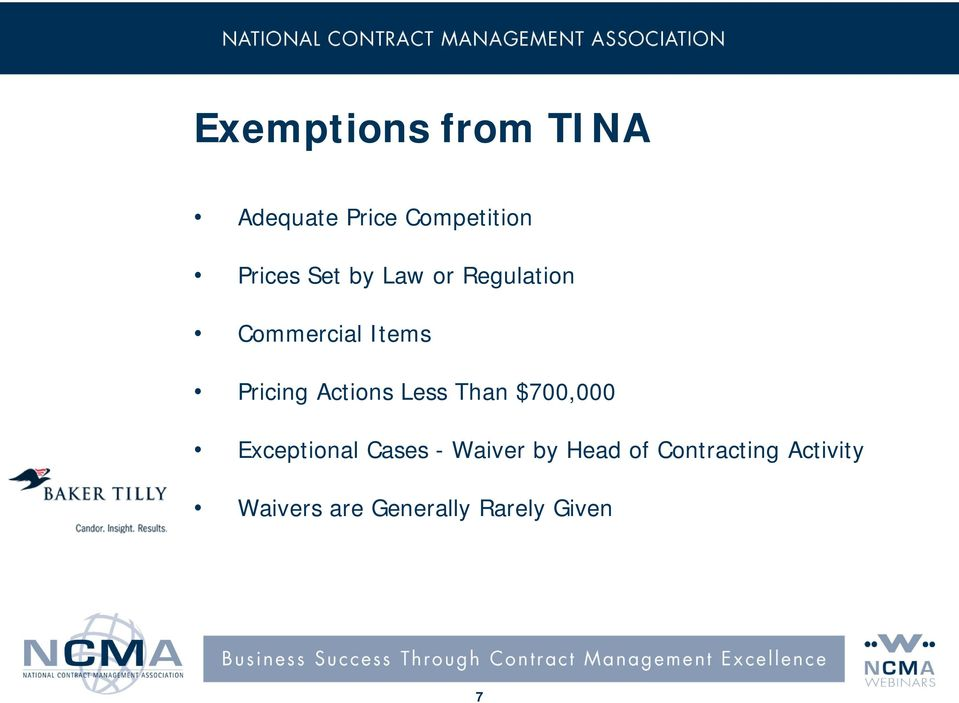 Actions Less Than $700,000 Exceptional Cases - Waiver by