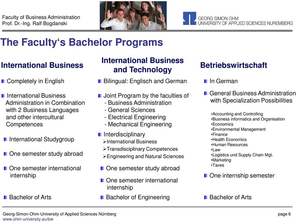 faculties of - Business Administration - General Sciences - Electrical Engineering - Mechanical Engineering Interdisciplinary International Business Transdisciplinary Competences Engineering and