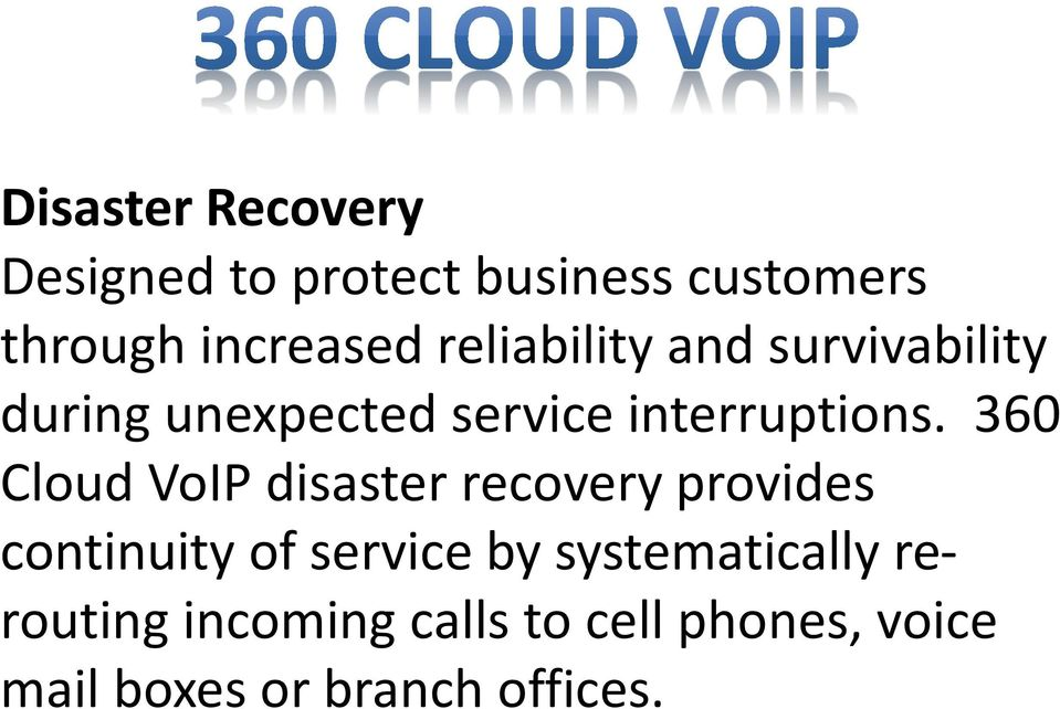 360 Cloud VoIP disaster recovery provides continuity of service by