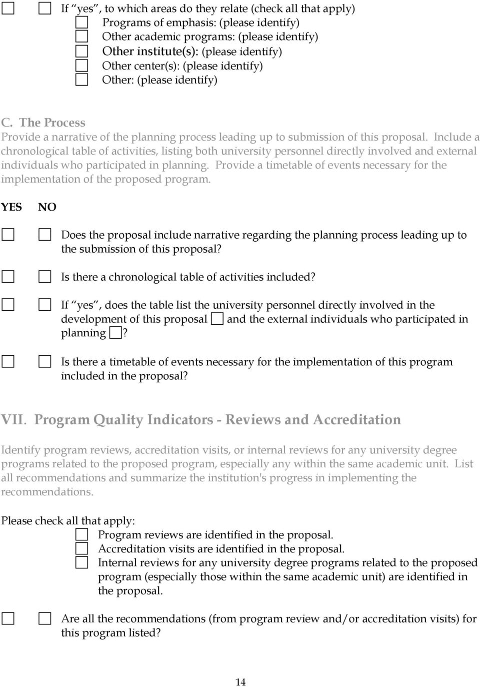 Include a chronological table of activities, listing both university personnel directly involved and external individuals who participated in planning.
