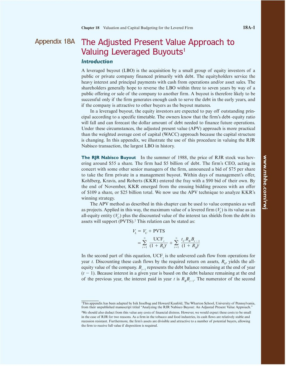 The Adjusted Present Value Approach to Valuing Leveraged