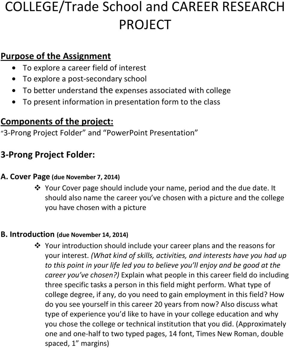 College Trade School And Career Research Project Pdf Free Download
