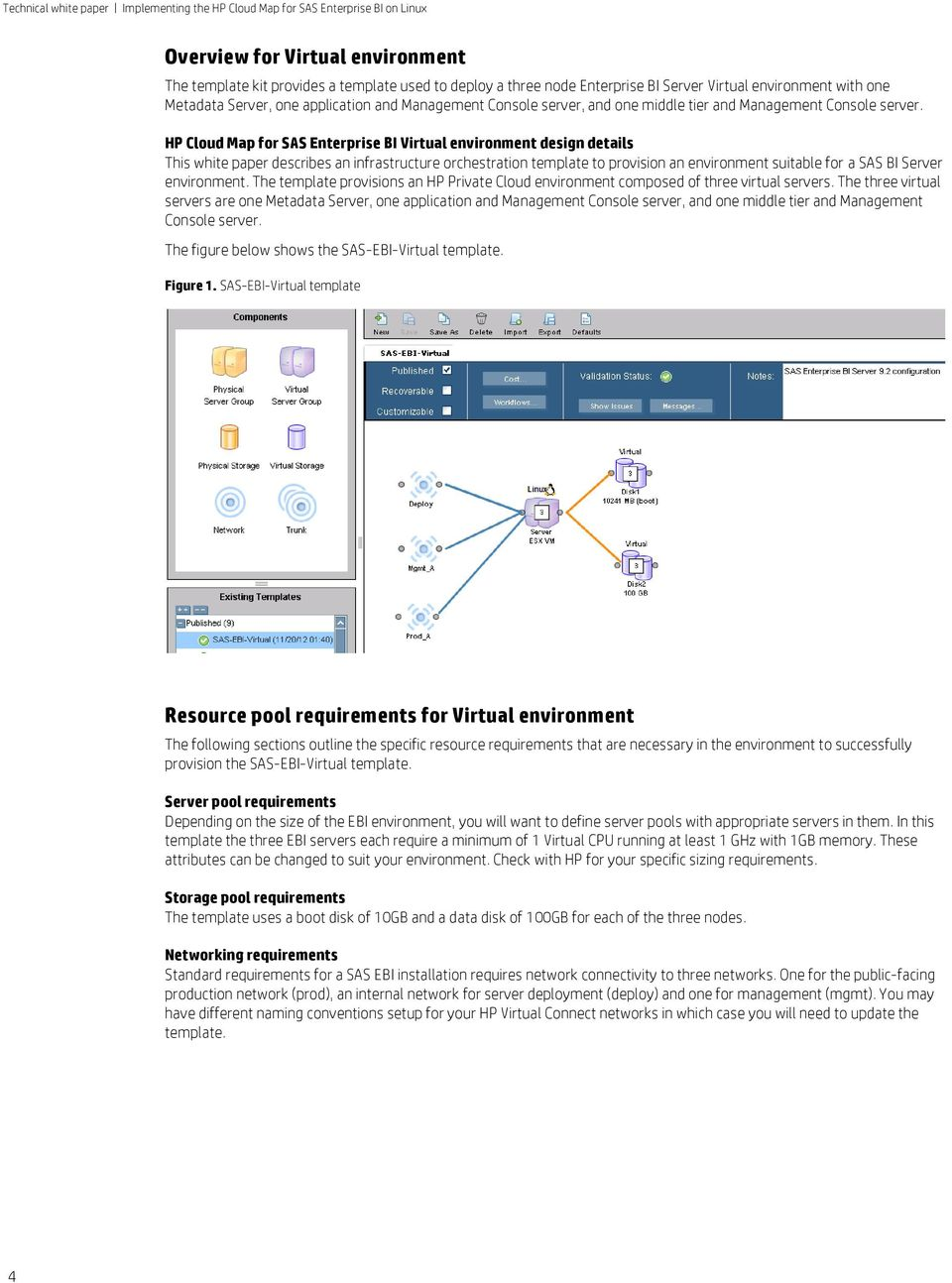 HP Cloud Map for SAS Enterprise BI Virtual environment design details This white paper describes an infrastructure orchestration template to provision an environment suitable for a SAS BI Server