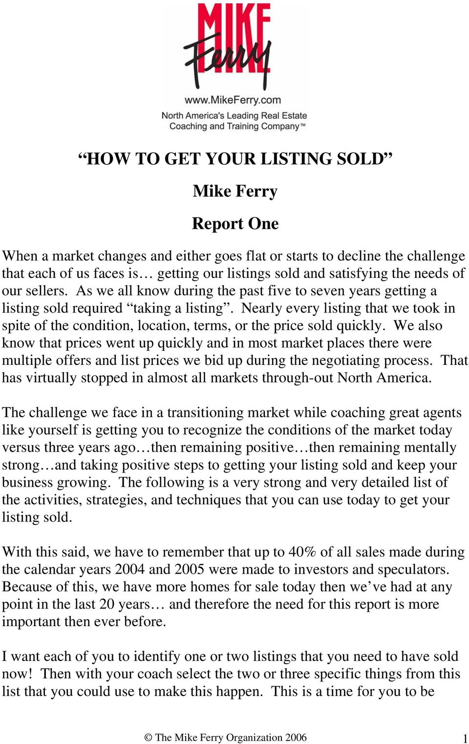 HOW TO GET YOUR LISTING SOLD Mike Ferry Report One - PDF