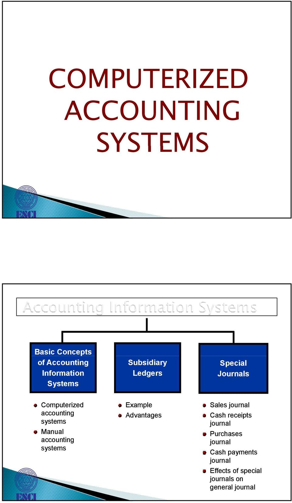 Manual accounting systems Example Advantages Sales journal Cash receipts