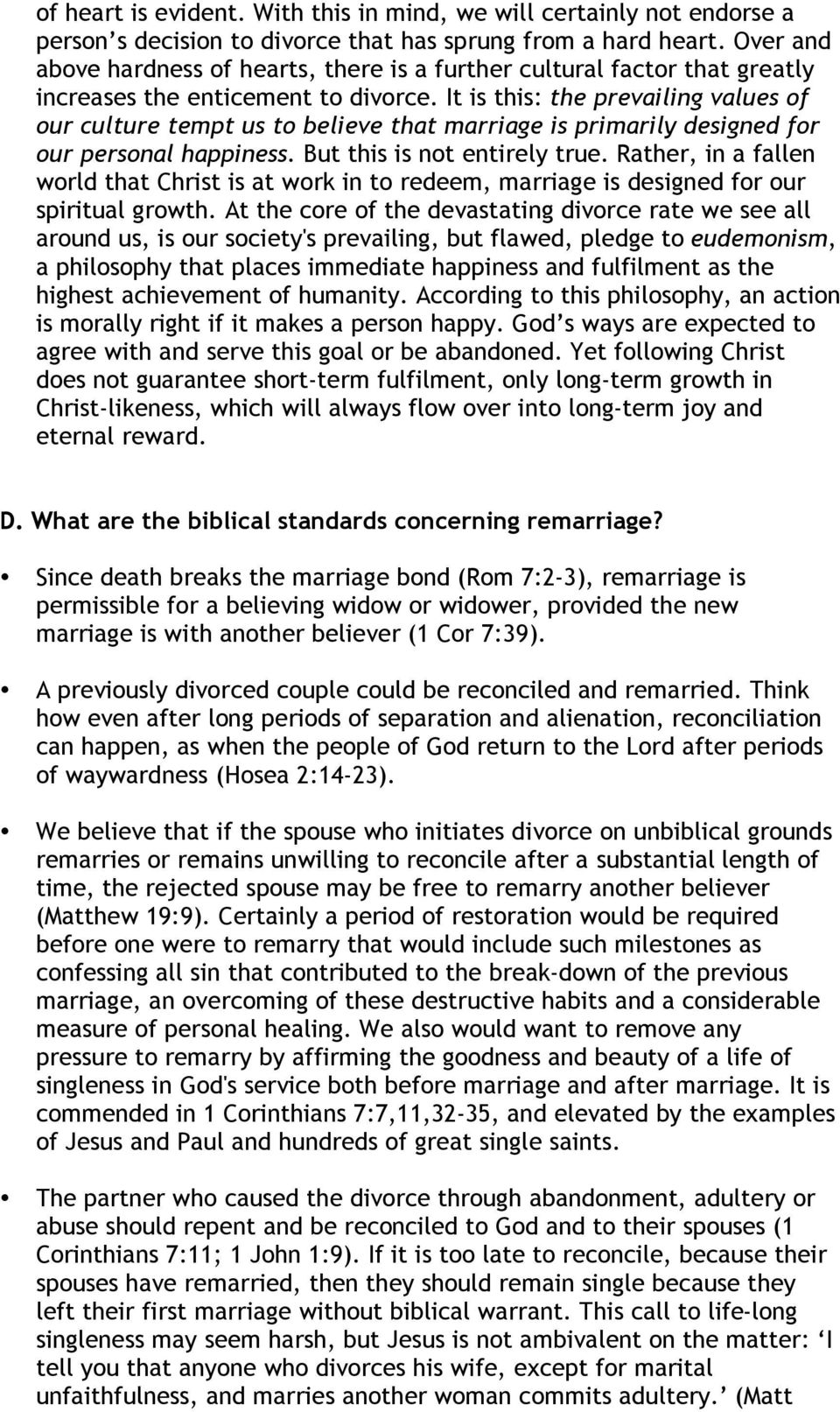 WHAT WE BELIEVE ABOUT DIVORCE AND REMARRIAGE AT COMMON GROUND CHURCH