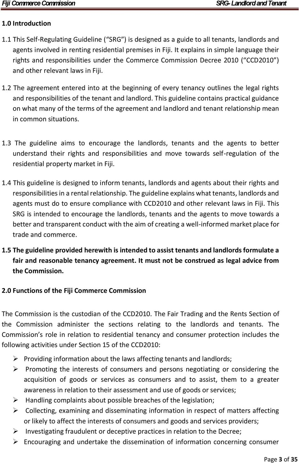 Self Regulating Guideline For Landlord And Tenant In Fiji Pdf