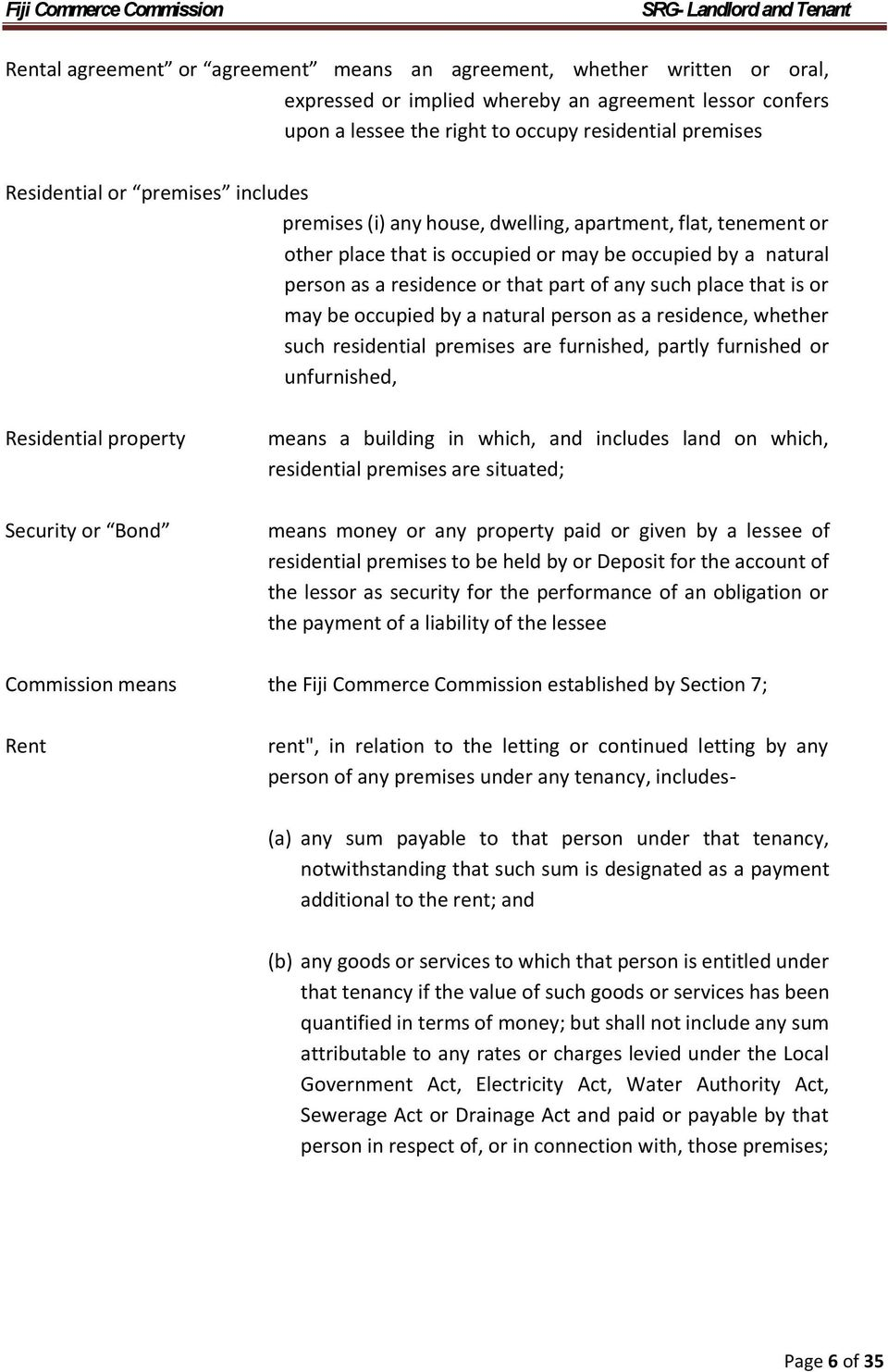 Self Regulating Guideline  for  Landlord and Tenant in Fiji - PDF