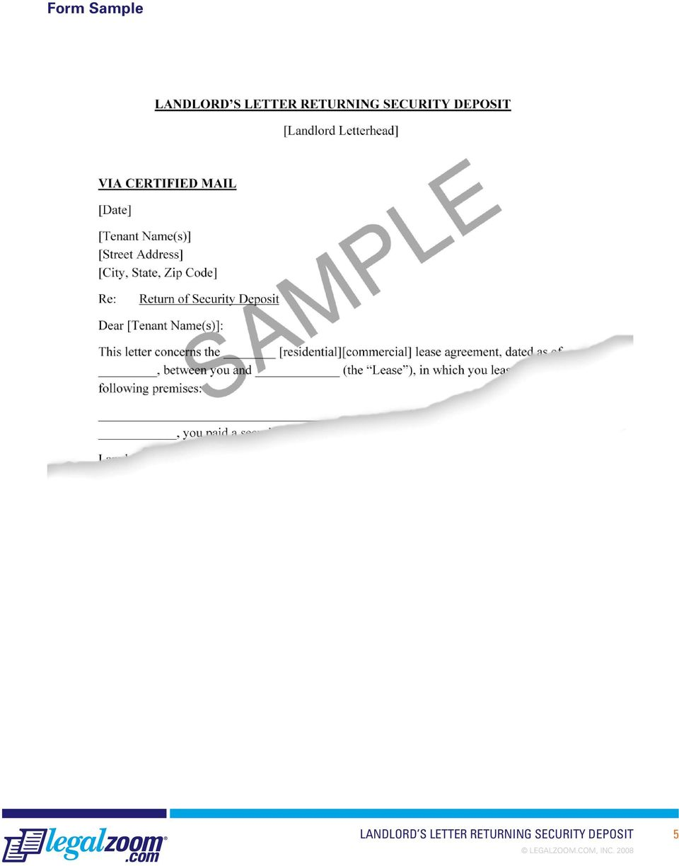 Security Deposit Letter To Tenant Sample from docplayer.net