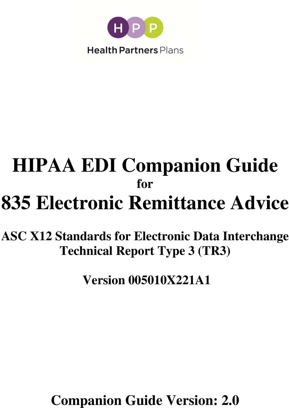 HIPAA EDI Companion Guide for 835 Electronic Remittance
