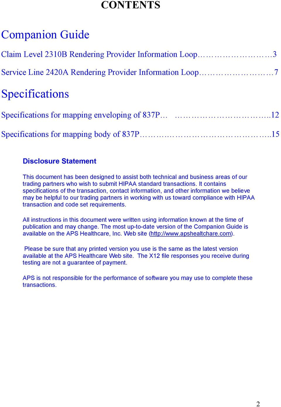 837 Professional EDI Specifications & Companion Guide - PDF