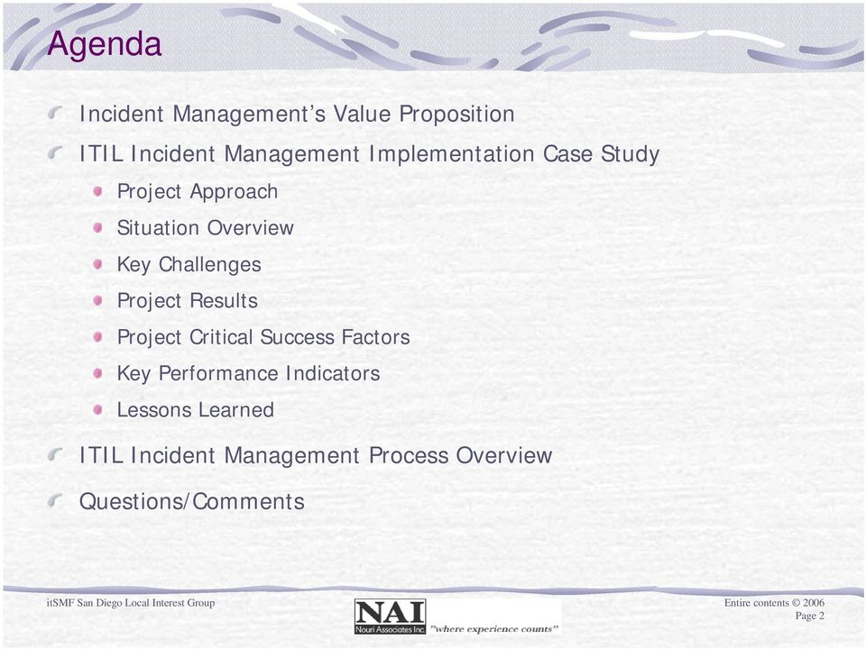 Project Results Project Critical Success Factors Key Performance Indicators