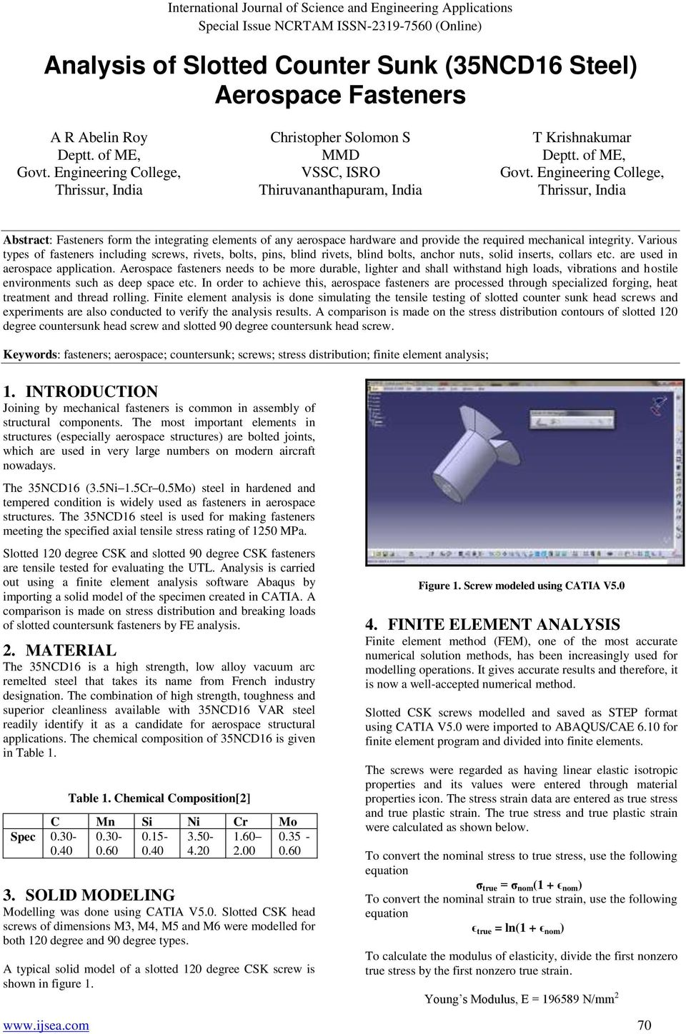 Analysis of Slotted Counter Sunk (35NCD16 Steel) Aerospace Fasteners