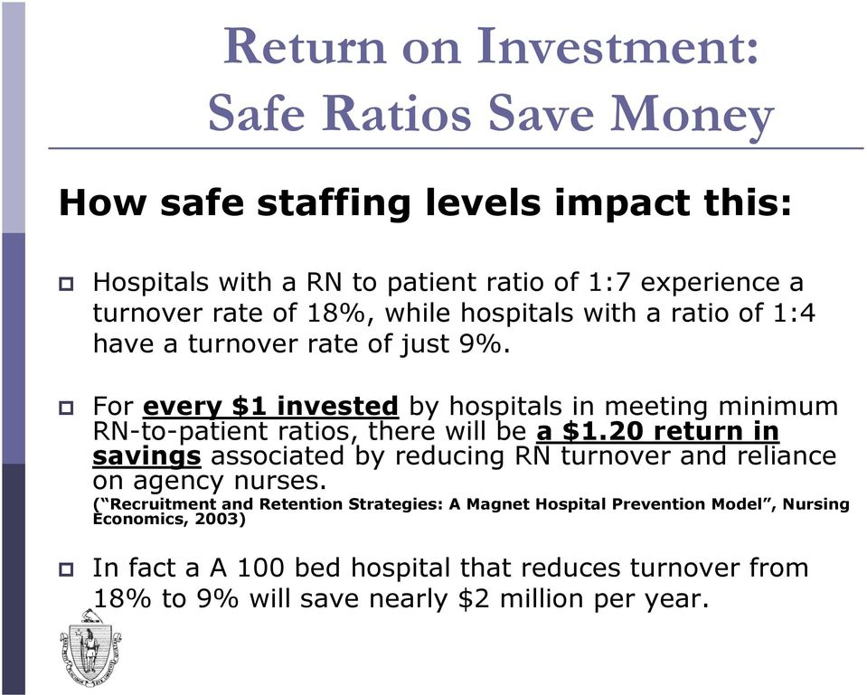 For every $1 invested by hospitals in meeting minimum RN-to-patient ratios, there will be a $1.