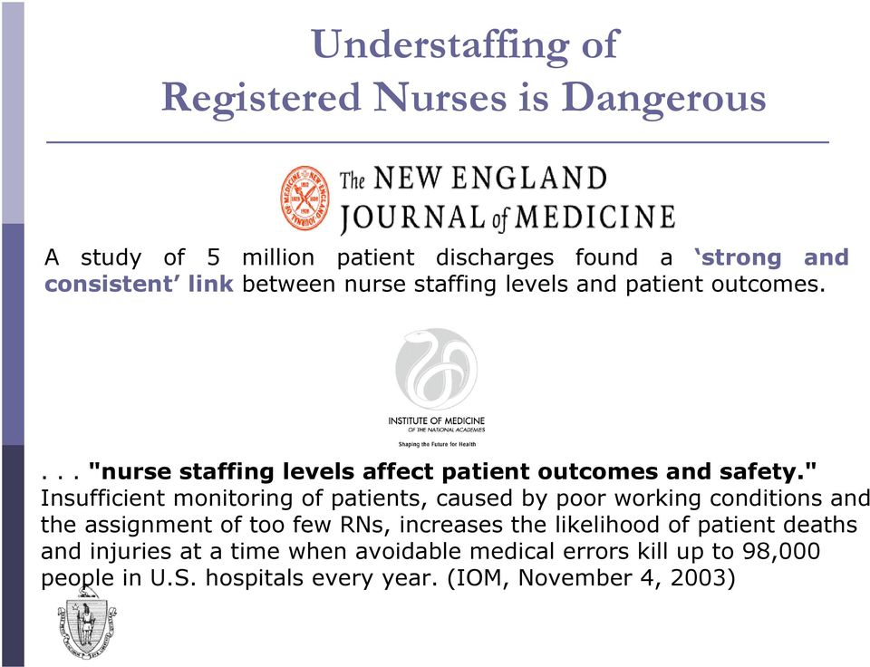 """ Insufficient monitoring of patients, caused by poor working conditions and the assignment of too few RNs, increases the"