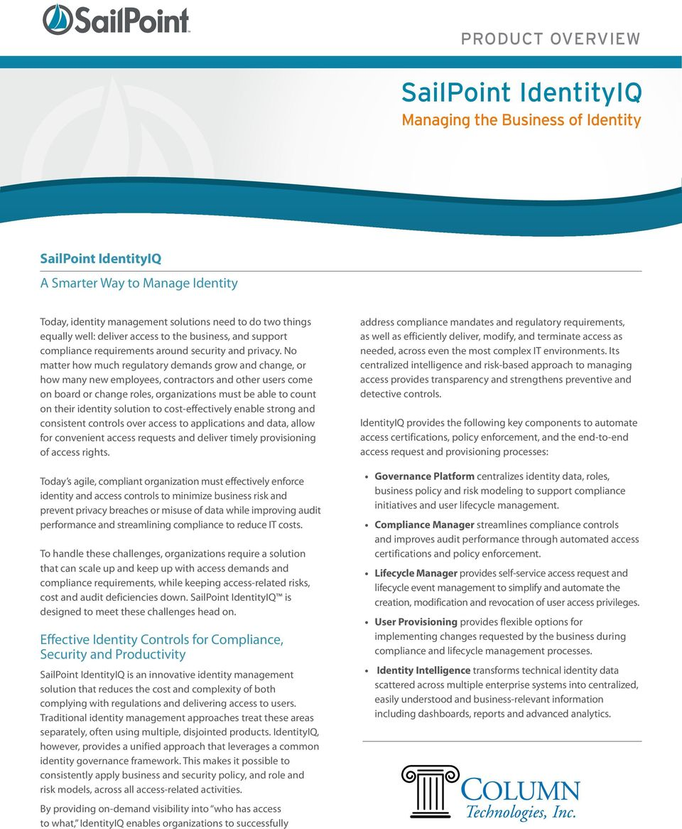 SailPoint IdentityIQ Managing the Business of Identity - PDF