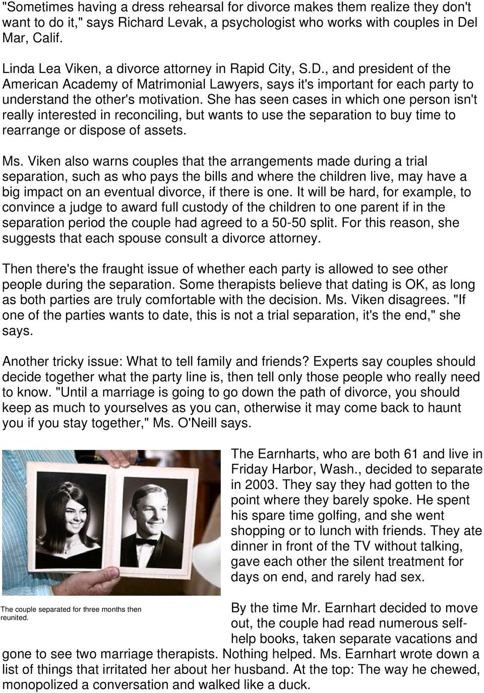 To Save a Marriage, Split Up? - PDF