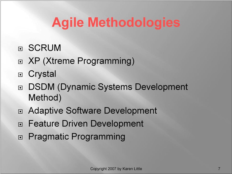 Adaptive Software Development Feature Driven