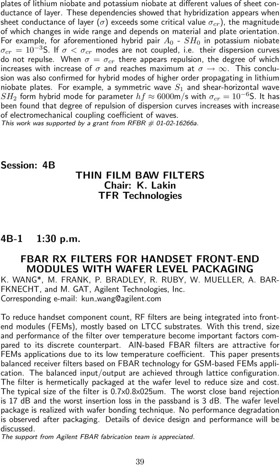 Session: 4B THIN FILM BAW FILTERS Chair: K  Lakin TFR