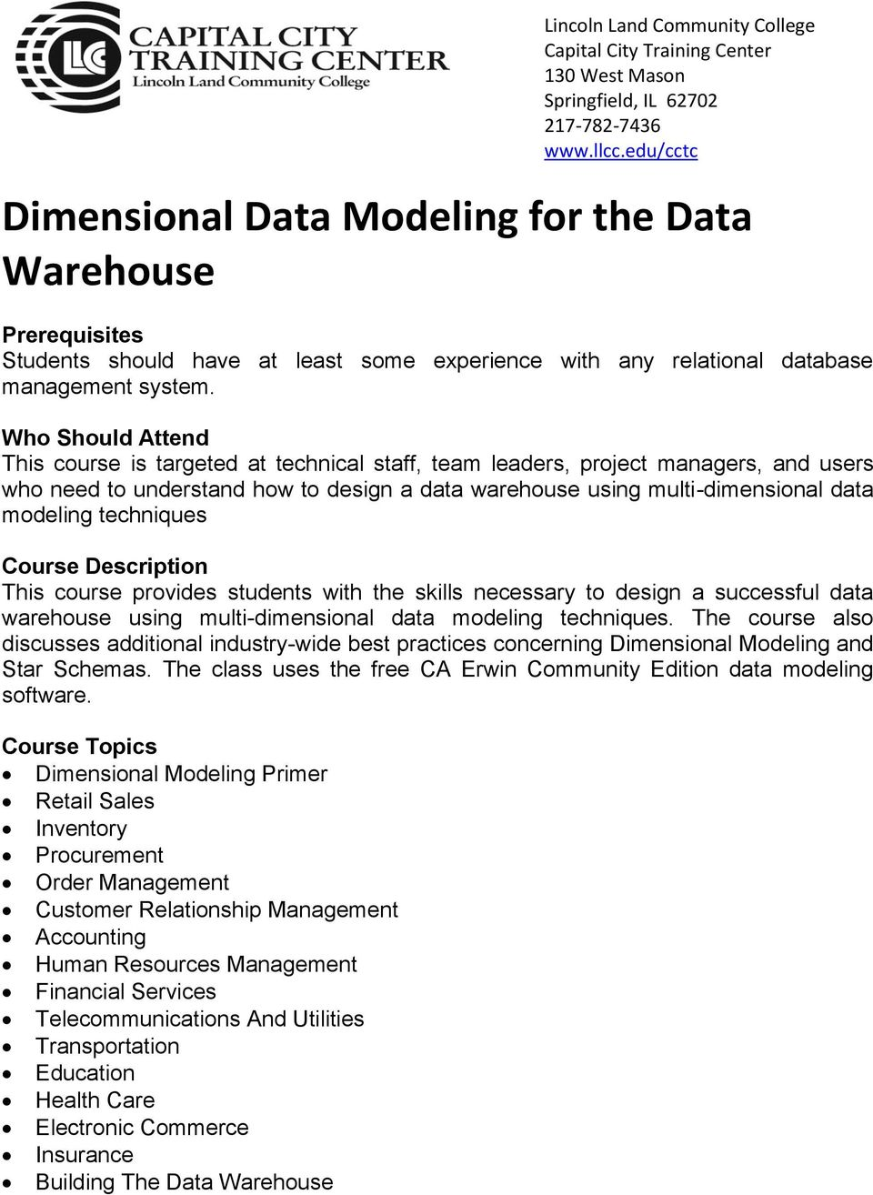 Dimensional Data Modeling for the Data Warehouse - PDF