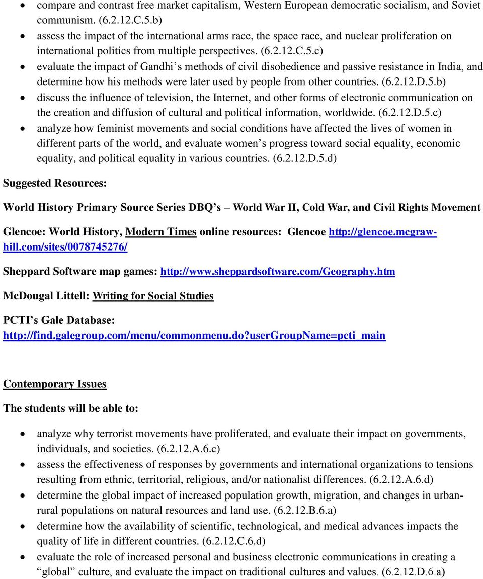 PASSAIC COUNTY TECHNICAL INSTITUTE  World History Honors - PDF
