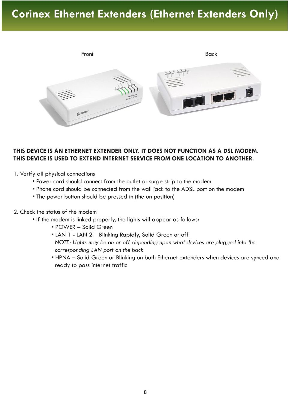 Internet Services Dsl Troubleshooting Guide Help Desk Pdf Inter Connection Together With Rj45 Connector Wiring Diagram Power Cord Should Connect From The Outlet Or Surge Strip To Modem Phone