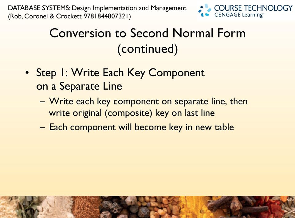 Write each key component on separate line, then write original