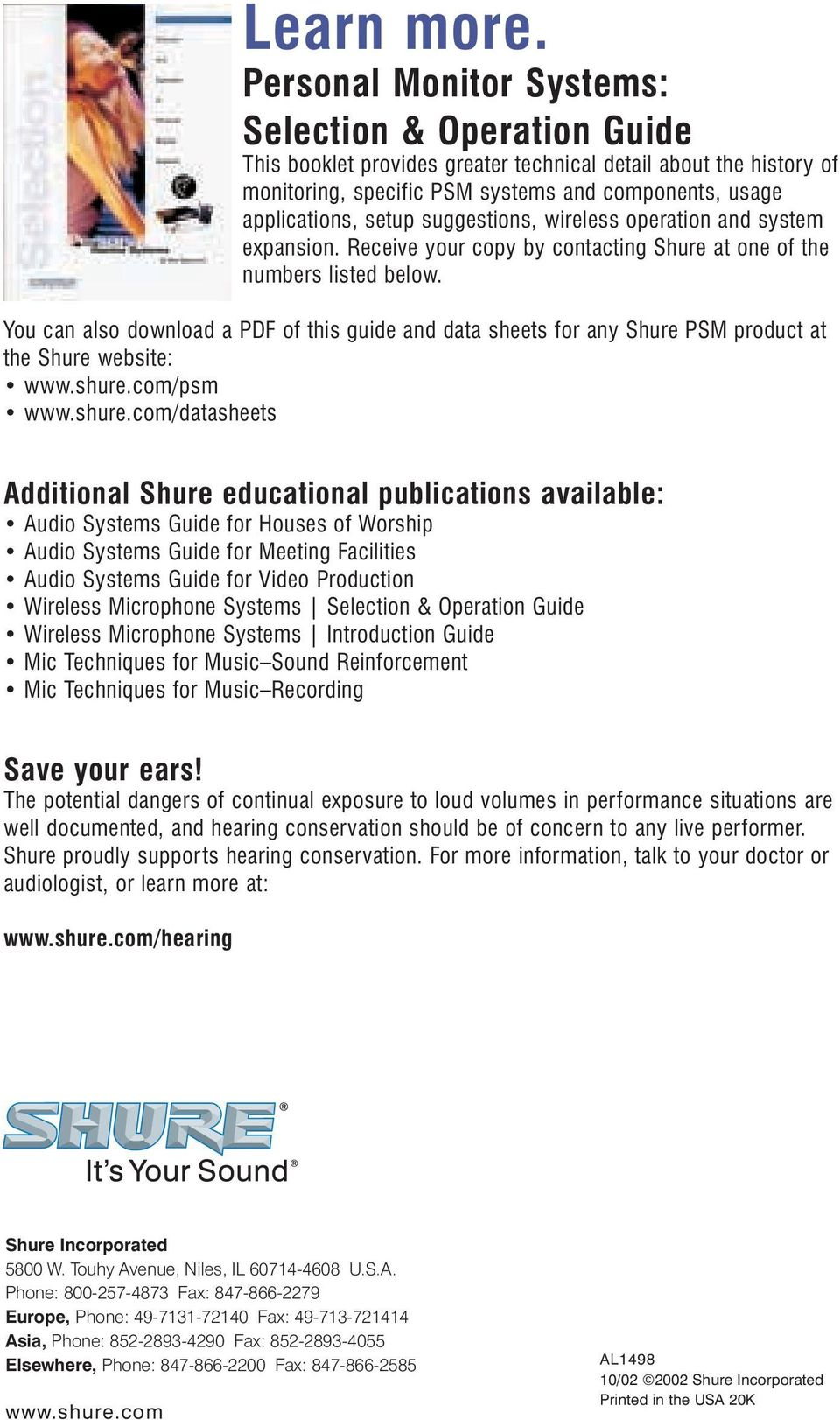 Introduction  A Shure Educational Publication  Personal