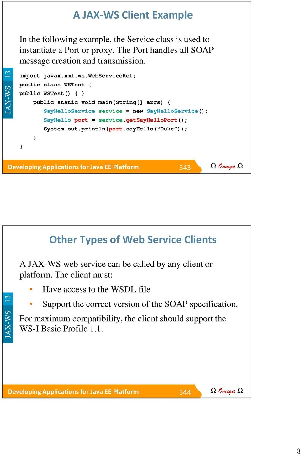 Module 13 Implementing Java EE Web Services with JAX-WS - PDF