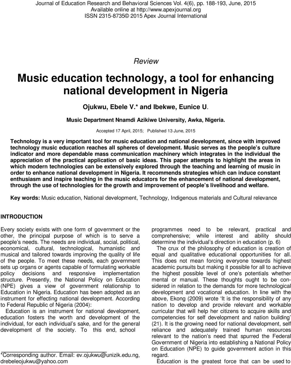 Music education technology, a tool for enhancing national