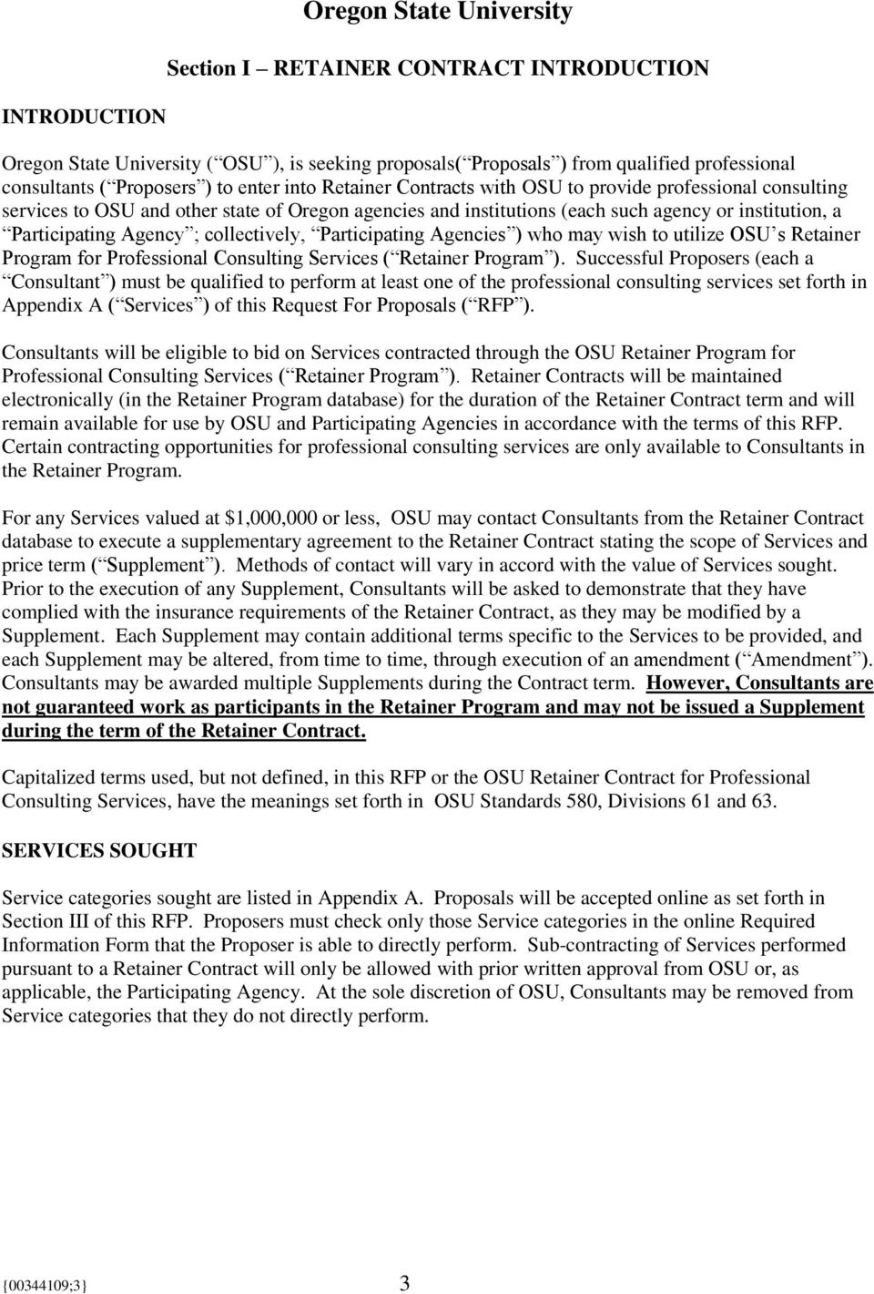 REQUEST FOR PROPOSALS  Professional Consultant Retainer Contract - PDF