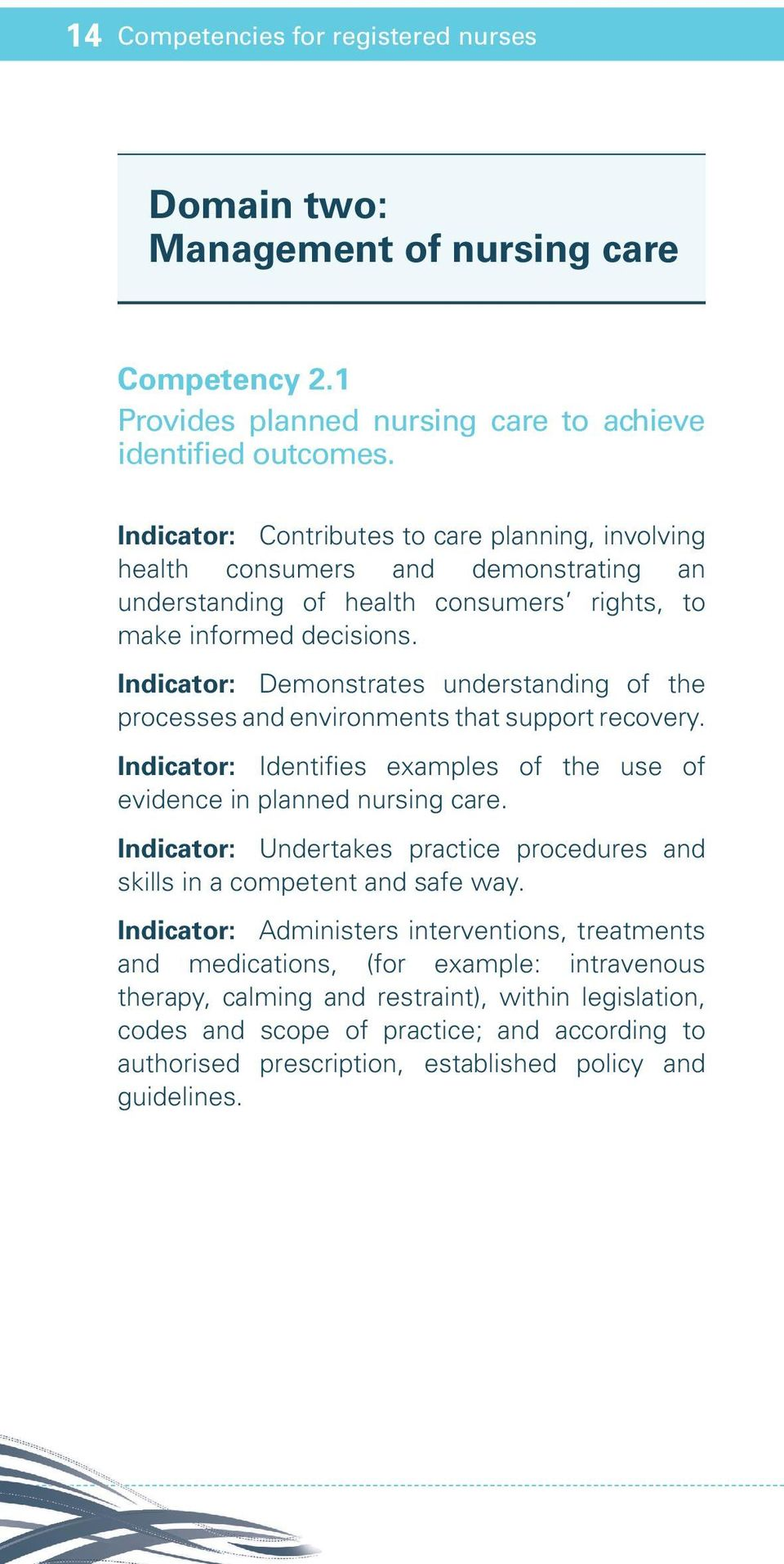 Indicator: Demonstrates understanding of the processes and environments that support recovery. Indicator: Identifies examples of the use of evidence in planned nursing care.