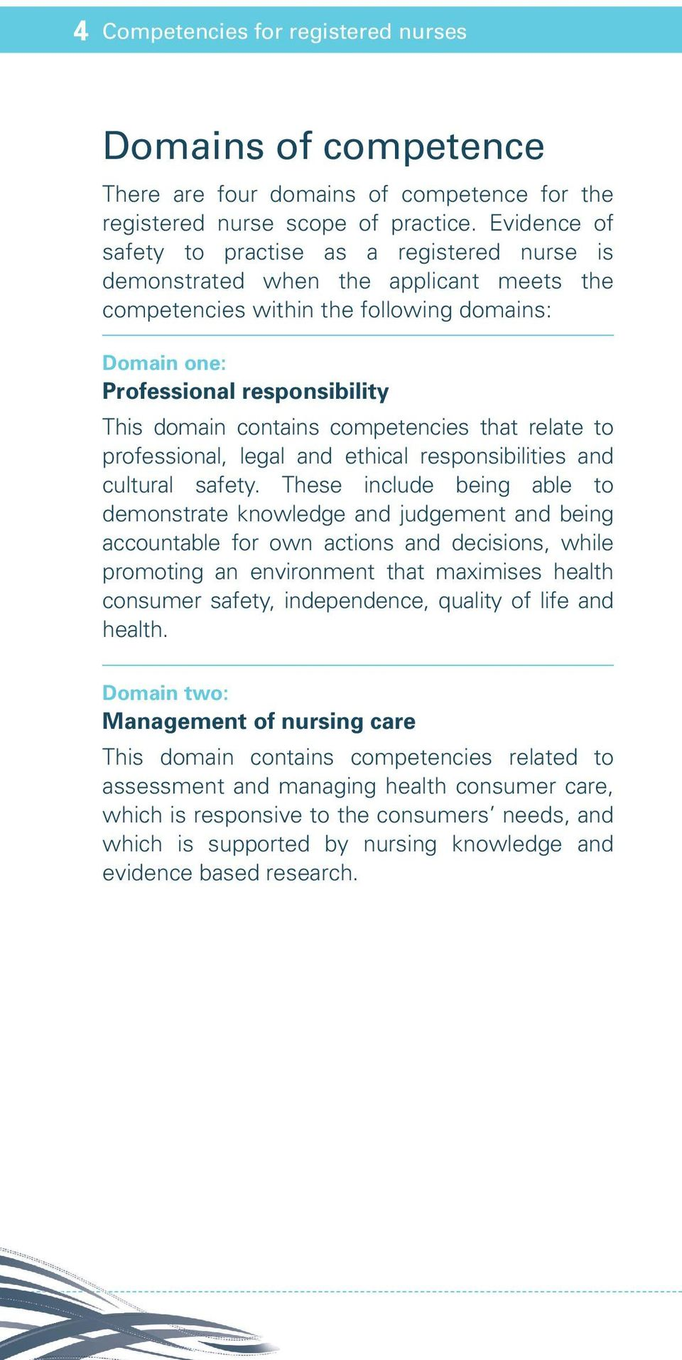 contains competencies that relate to professional, legal and ethical responsibilities and cultural safety.