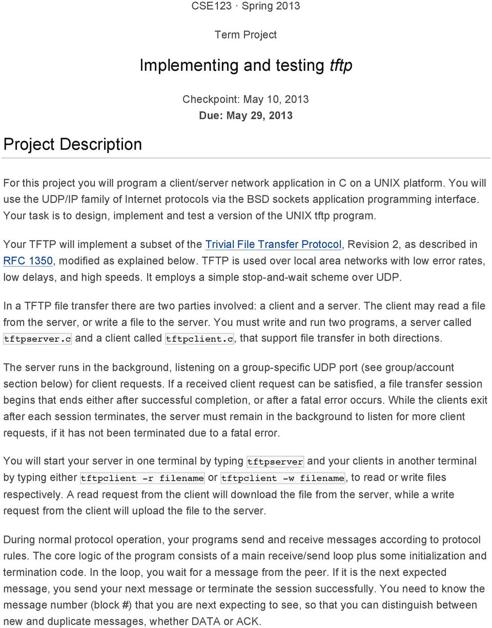Implementing and testing tftp - PDF