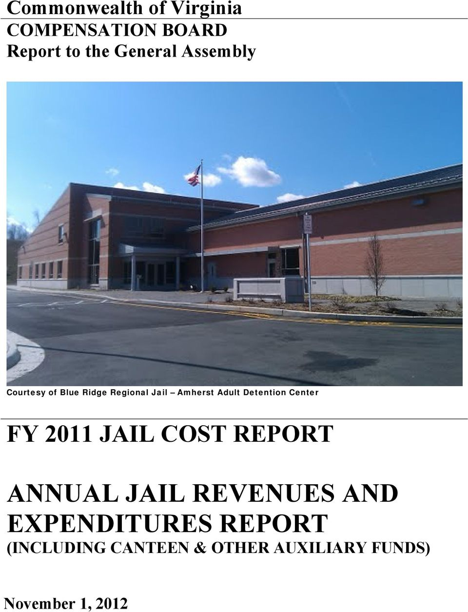 ANNUAL JAIL REVENUES AND EXPENDITURES REPORT (INCLUDING
