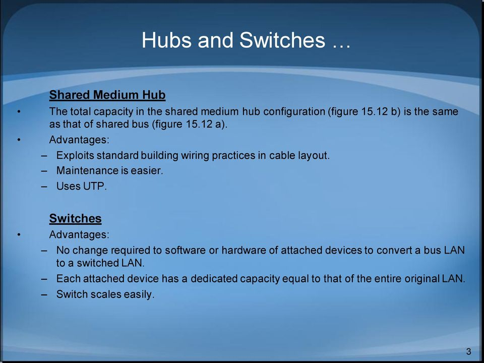 Advantages: Exploits standard building wiring practices in cable layout. Maintenance is easier. Uses UTP.