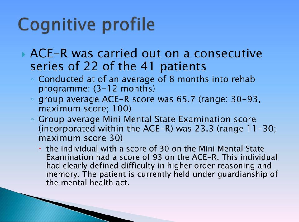 7 (range: 30-93, maximum score; 100) Group average Mini Mental State Examination score (incorporated within the ACE-R) was 23.