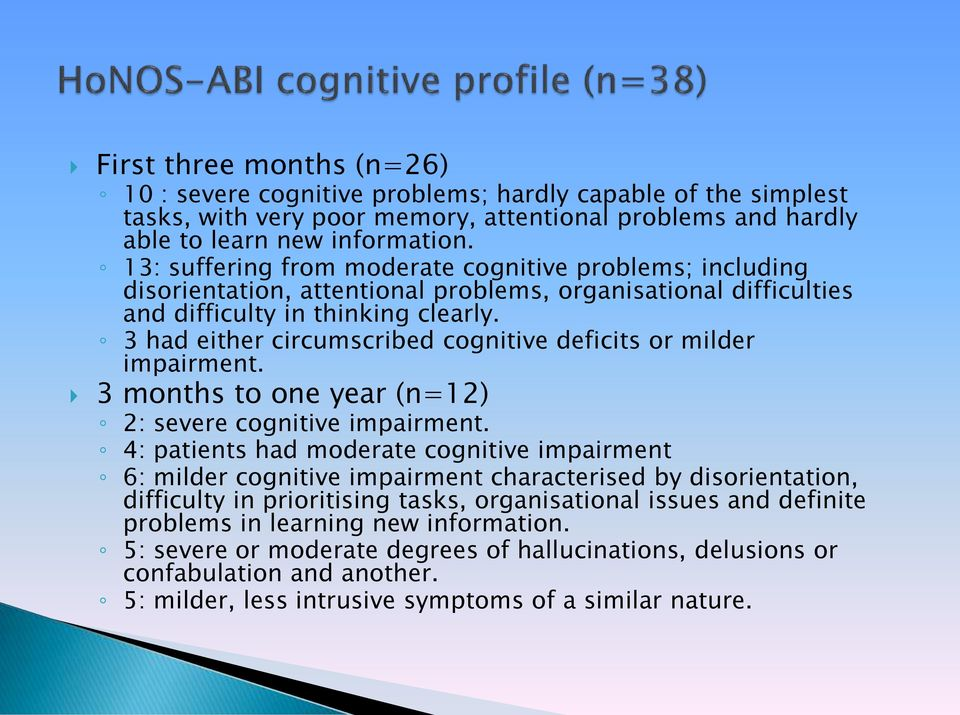3 had either circumscribed cognitive deficits or milder impairment. 3 months to one year (n=12) 2: severe cognitive impairment.