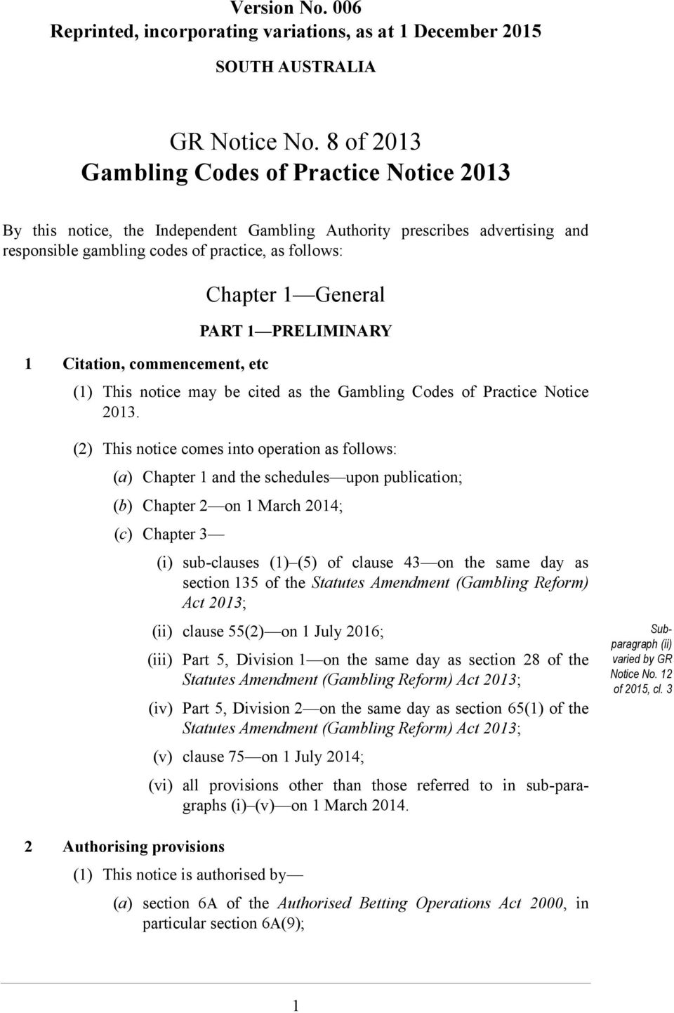 PRELIMINARY (1) This notice may be cited as the Gambling Codes of Practice Notice 2013.