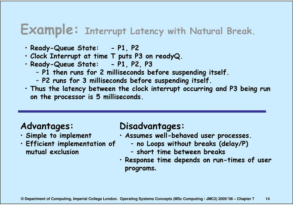 Thus the latency between the clock interrupt occurring and P3 being run on the processor is 5 milliseconds.