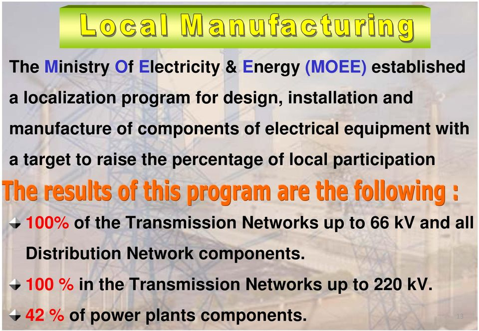 percentage of local participation 100% of the Transmission Networks up to 66 kv and all