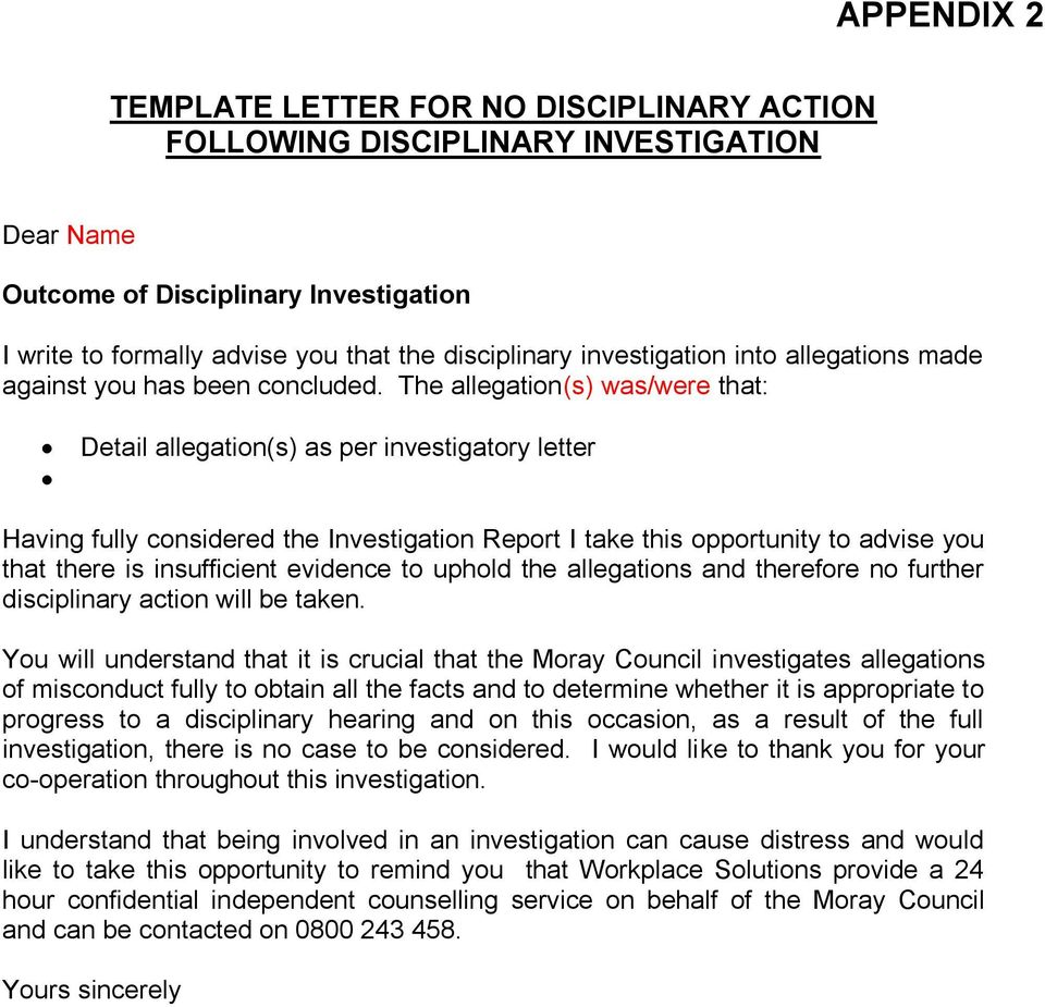 THE MORAY COUNCIL DISCIPLINARY PROCEDURES - PDF Free Download In Investigation Report Template Disciplinary Hearing
