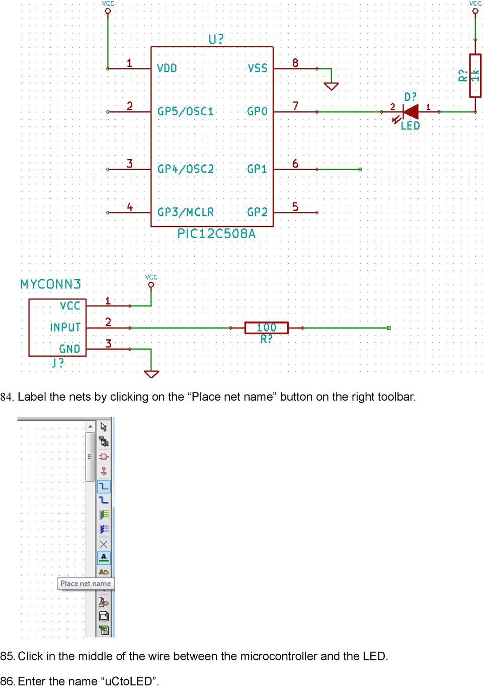 Kicad Step By Tutorial Pdf Simpledccircuit Click In The Middle Of Wire Between