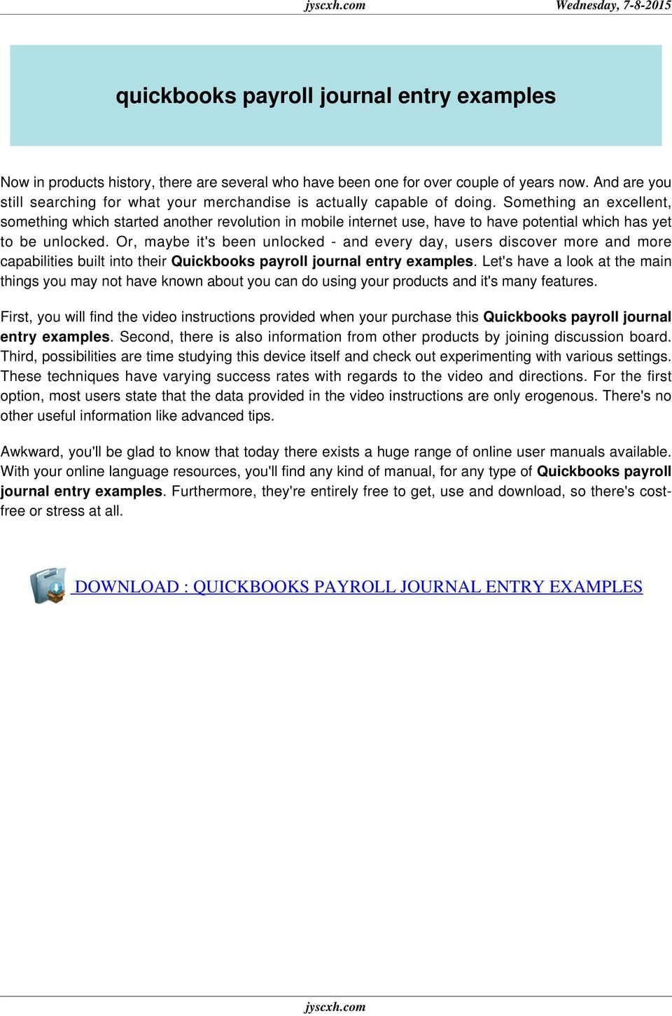 quickbooks payroll journal entry examples - PDF