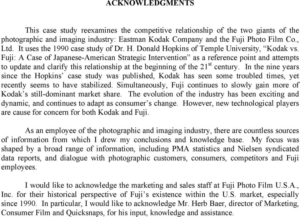 KODAK VS  FUJI: THE BATTLE FOR GLOBAL MARKET SHARE  Thomas C